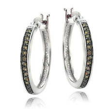 925 Silver 1/4ct Champagne Diamond 20mm Hoop Earrings