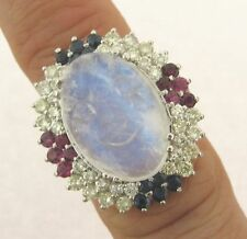 Exquisite Carved Blue Moonstone Diamonds Sapphires Rubies 14k White Gold Ring