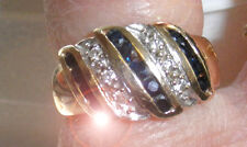 14K  YELLOW GOLD BLUE SAPPHIRES & DIAMONDS  WOMENS  RING 4.5 gr