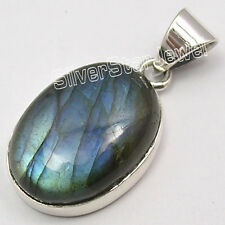 ".925 Pure Silver Beautiful BLUE FIRE LABRADORITE TRENDY Pendant 1.1"" 3.7 Grams"