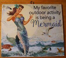 Vintage Retro Sassy Mermaid Beach Sign Decor Favorite Activity Being A Mermaid