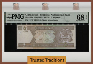 TT PK 66a 2002 AFGHANISTAN REPUBLIC BANK 5 AFGHANIS PMG 68Q SUPERB TIED AS BEST!