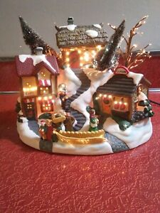 Victorian Christmas village Fiber optic changing lights