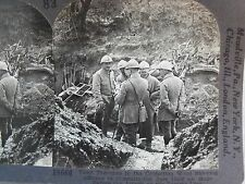 WW1 OFFICERS CONSULT IN TATOI TRENCHES 1/2 HR BEFORE ATTACK! KEYSTONE STEREOVIEW