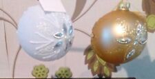 Christmas Tree White & gold traditional BAUBLES WITH jewel Decorations