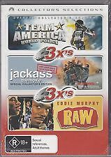 TEAM AMERICA + JACKASS THE MOVIE + RAW - BRAND NEW & SEALED 3-DISC DVD (REG.4)