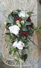 Autumn Winter Rose Christmas Silk Brides Cascading Wedding Bouquet Flowers Posy