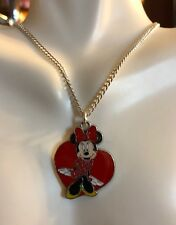 """Minnie Mouse Charm Heart Necklace Pendant 16"""" Silver Plated, Gift Boxed,USA"""