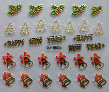 Nail art Stickers bijoux d'ongles: cloches - happy new year - gui - sapins