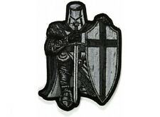 """(H21) BLACK & WHITE CRUSADER KNIGHT 3.25"""" x 4.5"""" iron on patch (5111)"""