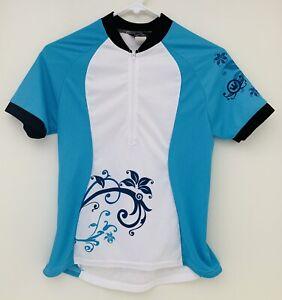Canari Women's CYCLING Biking JERSEY S Back pockets half Zip Blue White Small