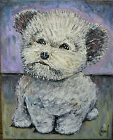 BOSCOE THE DOG new oil painting 8x10 canvas original signed art signed Crowell $