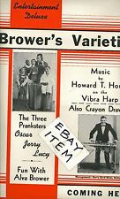 Poster C-1949 BROWER'S VARIETIES Ventriloquist DUMMY Vibraphone HOWARD T. HOUSE