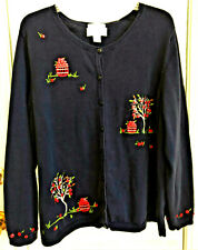 CJ Banks Hand Embroidered Apple Cardigan Sweater 2XL Button Embellished Beauty