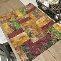"Quilted Patchwork Table Runner Topper 24"" by 17"" Gold Burgundy Green Batik EUC"