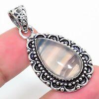 "Fluorite Gemstone  Ethnic 925 Silver Jewelry Pendant 2.17"" AL-635"