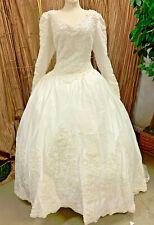 MOONLIGHT SIZE 16 WEDDING GOWN RENAISSANCE FAIR DRESS WITH VEIL WHITE SATIN