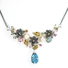 """REAL AAA LONDON BLUE TOPAZ PEARL & TOURMALINE STERLING 925SILVER NECKLACE 18.5"""""""