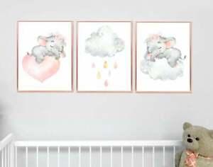 Sleeping Elephant Nursery Wall Art - Pink and Grey Nursery Decor - Baby Room