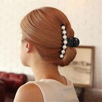 Women Lady Girl Pearl Crystal Hair Clip Clamp Claw Haedpiece Hair Accessory RA