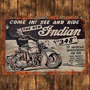 ALUMINIUM SIGN - 200MM X 285MM - INDIAN 348 MOTORCYCLE, RUSTY/RUSTIC LOOK