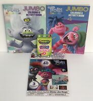 4pc Trolls World Tour Gift Set Jumbo Coloring Books, Sticker Story, Neon Crayons