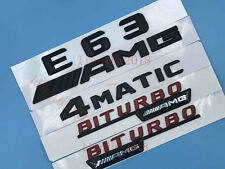 """E63+AMG +4 MATIC+BITURBO"" Letters Trunk Embl Badge Sticker for Mercedes Benz #5"