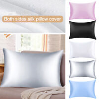 2PCS Pillow Case Silk Satin Soft Solid Sleeping Bedroom Bed Pillows Cover Cases