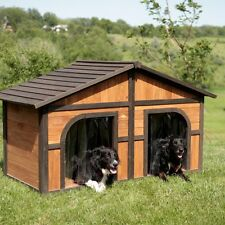 Double Door Dog House Outdoor  Extra Large Dogs Wood Pet Shelter XL Duplex