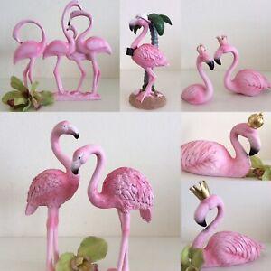 1 Flamingo Tierfigur o. Paar Deko Garten Figuren Resin Balkon Metall NEU