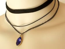Multi-layer Black Choker Chain Necklace Sapphire Oval Pendant Lobster Claw