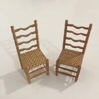 Vintage Dollhouse Miniatures 1:12 Scale Caned Seat Chairs Pair of 2