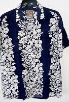 Vtg Pineapple Connection Navy Blue Aloha Hawaiian Flower Shirt Mens Size Small