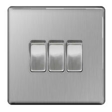 BG Nexus FBS43 - Screwless Flat Plate Brushed Steel 3 Gang 2 Way Light Switch