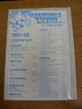1997/1998 Huddersfield Town: Official Shopping List - Souvenir Shop Price List.