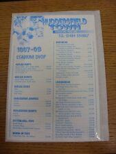 1997/1998 Huddersfield Town: Official Shopping List - Souvenir Shop Price List.