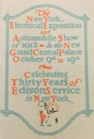 1912 EDISON ELECTRICAL NEW YORK EXPOSITION STAMP LABEL ADVERTISEMENT Anniversary