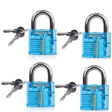 4 Gym locker Garage Toolbox Portable Lock Acrylic Transparent Padlock+2 key blue