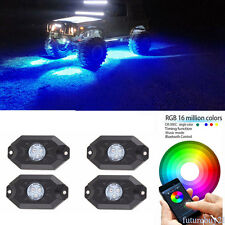 4x Pod Multi-Function Mini Bluetooth RGB LED Rock Lights For 4x4 offroad Vehicle