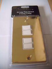BG Classic Brass 10 Amp Plate Switch 4 Gang 2 Way BRV244