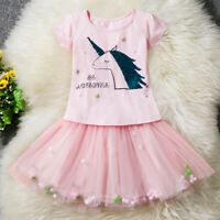 Kids Girl Outfits Clothes Sequin Unicorn T-Shirt Tops Tutu Skirt Holiday Dresses
