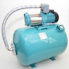 Hauswasserwerk 100 Liter mit Pumpe 1300Watt INOX Edelstahl + Luftdruckmanometer