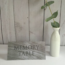 'Memory Table' Grey Wood Effect Card Sign - Funeral, Condolence / Guest Book
