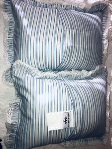 NIP Laura Ashley Palmetto Standard Pillow Sham Mint Green White Stripe Peach