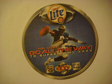 2000 Beer Coaster ~ MILLER Brewing Lite ~ Win a Trip to Super Bowl XXXV Football