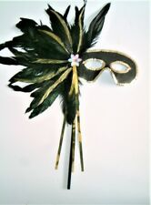 MASQUERADE HALLOWEEN LADIES BLACK FEATHER STICK MASK FOR  GLASSES WEARERS