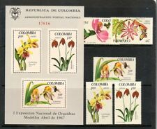 COLOMBIA Sc 768-9,C489-91+C491A NH SET+S/S of 1967 - FLOWERS - ORCHIDS