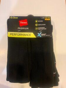 Hanes Premium Performance Men's Big & Tall 12-14 Cushioned Crew Socks 6 Pr Black