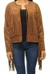 Women`s Faux Suede Fringe Tassel Jacket UK Size 8-10 - NEW