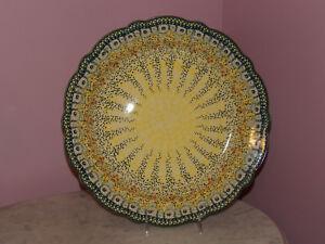 Polish Pottery Large Scalloped Platter! UNIKAT Signature Exclusive Miss Daisy!